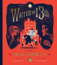 cover of Warren the 13th - a young boy tiptoes across town while a sinister couple gaze after him