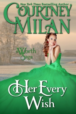 Cover of Her Every Wish; a young woman in a green dress looks longingly into the distance