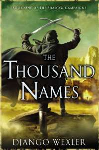 cover of The Thousand names - a man in a billowing cloak walks towards a city holding two swords above his head
